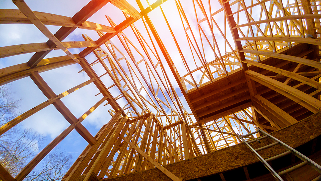 New construction framing house with frame