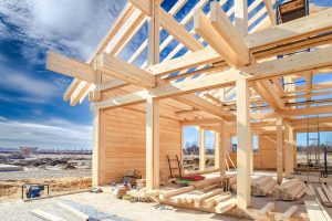 Built a cottage on the site. Construction site. Wooden frame of